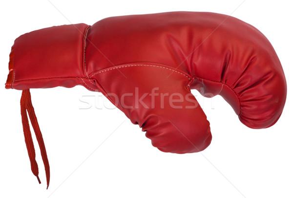 боксерская перчатка спорт красный кожа кружево Сток-фото © imagedb