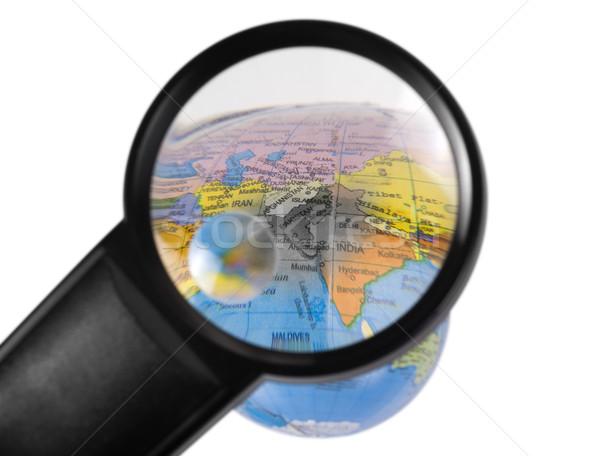 Индия мира увеличительное стекло бизнеса карта Мир карта Сток-фото © imagedb