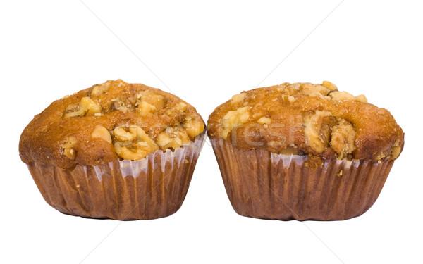Muffins brood horizontaal witte achtergrond heerlijk Stockfoto © imagedb