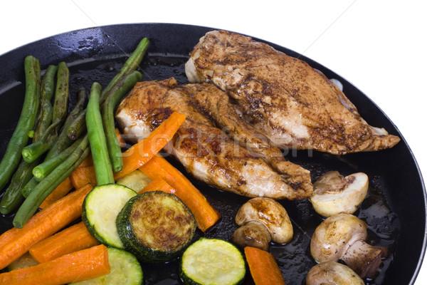 Kip borsten plantaardige vlees wortel maaltijd Stockfoto © imagedb