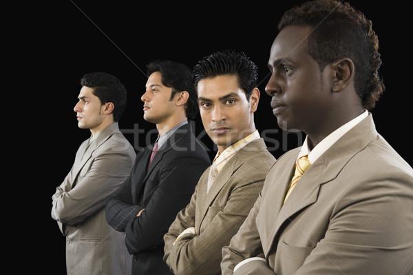 Portré üzletember áll kollégák üzlet fotózás Stock fotó © imagedb