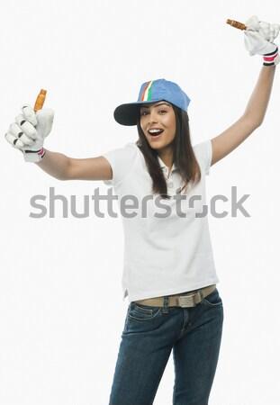Retrato femenino cricket ventilador mujer Foto stock © imagedb