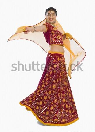 Nő előad tánc ünneplés ül bot Stock fotó © imagedb
