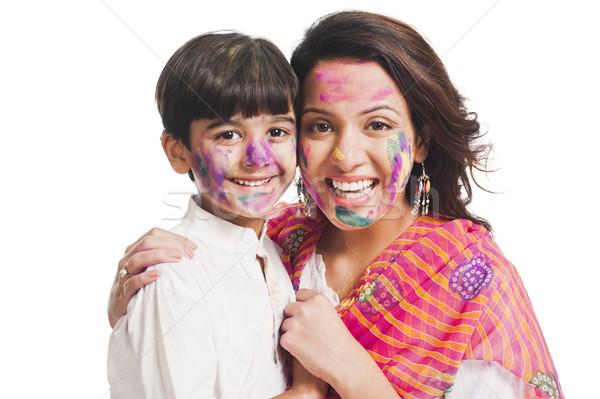 Portrait femme fils célébrer festival famille Photo stock © imagedb