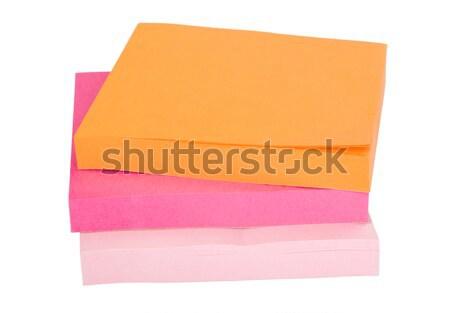 Yapışkan notlar iş kâğıt turuncu Stok fotoğraf © imagedb
