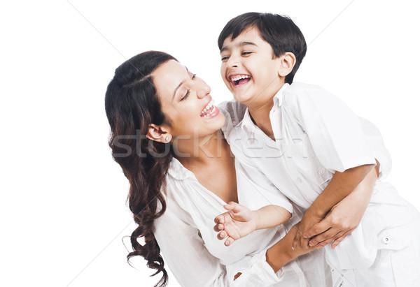 Mutlu anne oğul gülen aile sevmek Stok fotoğraf © imagedb