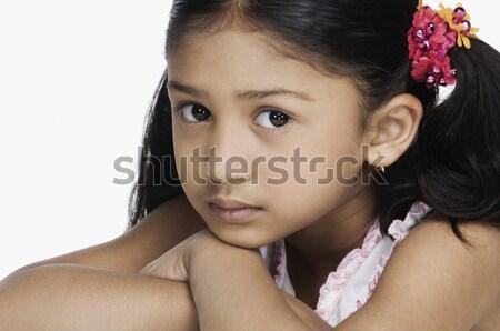 Portrait fille visage mains noir Photo stock © imagedb