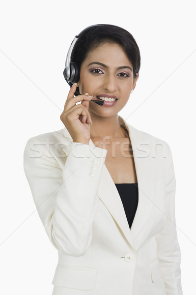 Közelkép női ügyfélszolgálat képviselő üzlet nő Stock fotó © imagedb