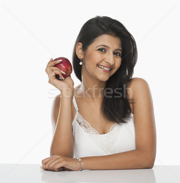 Kadın elma gülen meyve güzellik Stok fotoğraf © imagedb