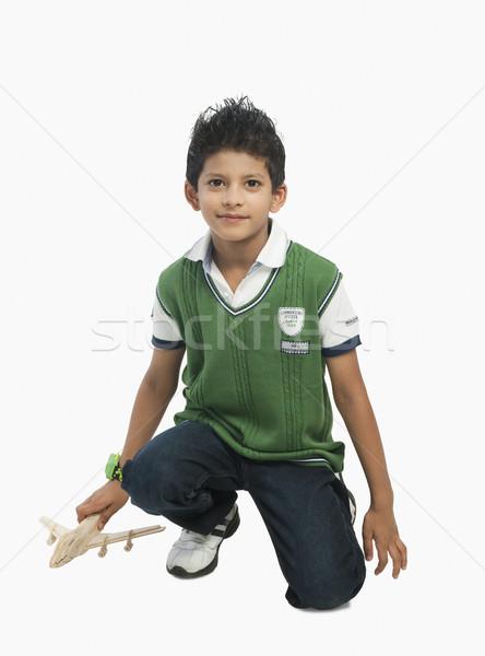 Portret jongen spelen speelgoed vliegtuig mode Stockfoto © imagedb