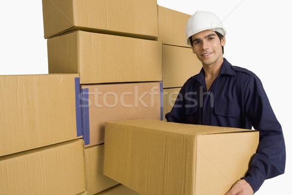 Bolt hordoz kartondoboz raktár férfi dolgozik Stock fotó © imagedb