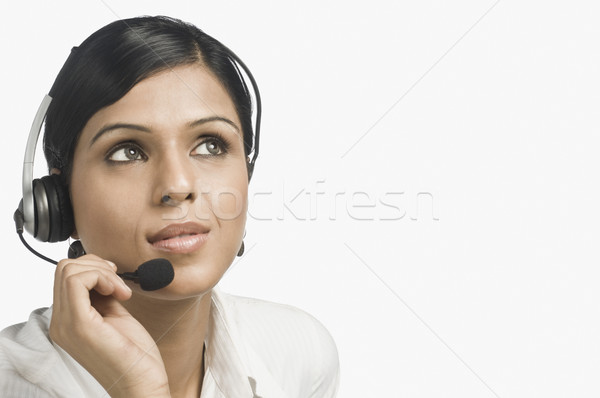 Kadın müşteri hizmetleri temsilci düşünme iş Stok fotoğraf © imagedb
