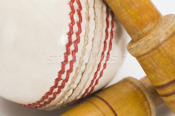 Stockfoto: Cricket · bal · hout · leder · witte