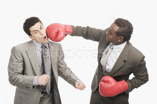 Imprenditore collega guantoni da boxe business sport rabbia Foto d'archivio © imagedb