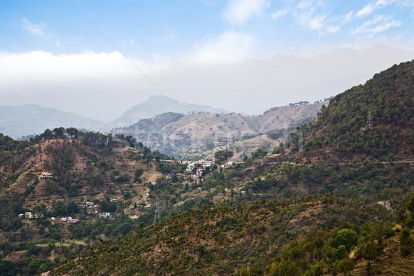 Magasról fotózva kilátás hegyek fa hegy felhő Stock fotó © imagedb