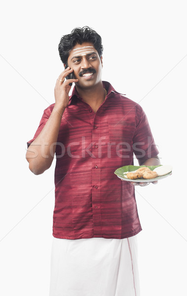 Dél indiai férfi tart tányér étel Stock fotó © imagedb