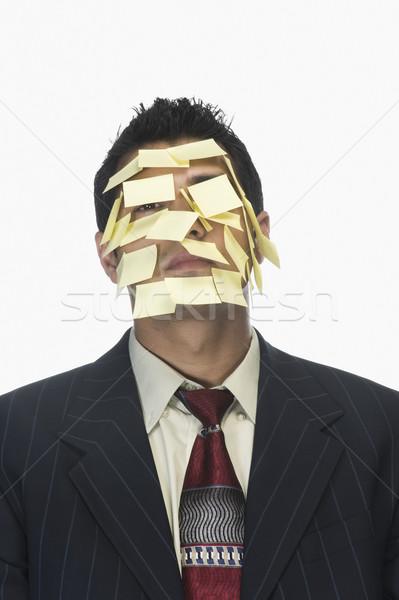 лице клей отмечает бизнеса человека костюм Сток-фото © imagedb