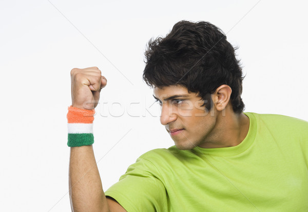 Man vuist opwinding t-shirt land Stockfoto © imagedb