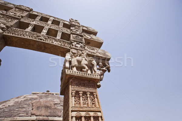 Carved gateway to the Great Stupa built by Ashoka the Great at S Stock photo © imagedb