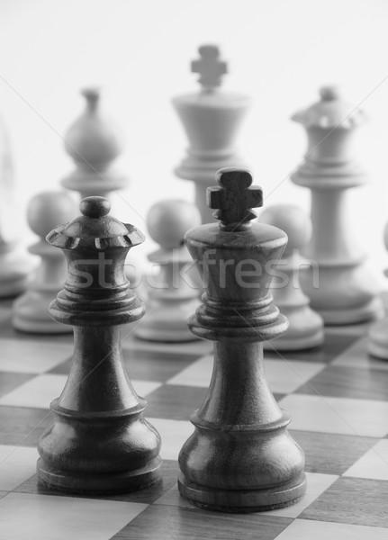 チェスの駒 チェスボード グループ 楽しい 黒と白の 王 ストックフォト © imagedb