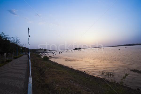 Passeio público lago pôr do sol paraíso turismo Índia Foto stock © imagedb