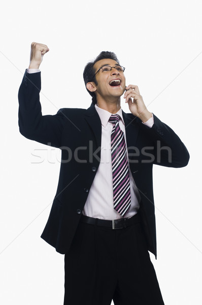 ビジネスマン こぶし 話し 携帯電話 ビジネス 男 ストックフォト © imagedb