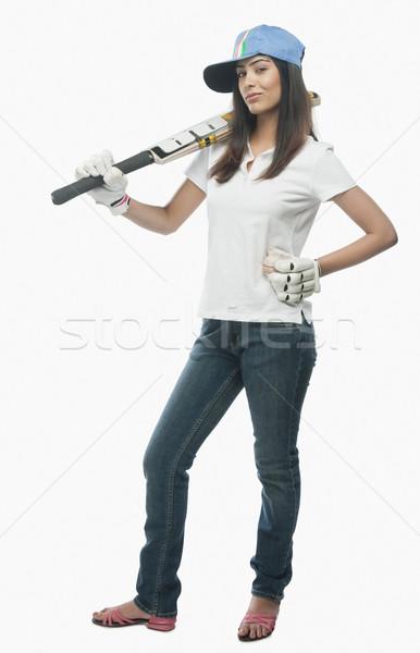 Portré női krikett ventillátor tart denevér Stock fotó © imagedb