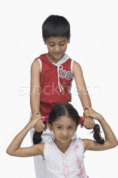 Erkek saç kardeş eller çocuklar Stok fotoğraf © imagedb