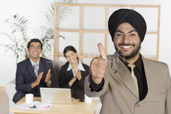 ストックフォト: ビジネスマン · にログイン · オフィス · 会議
