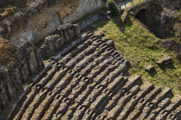 High angle view of ruins of ancient roman amphitheatre Stock photo © imagedb