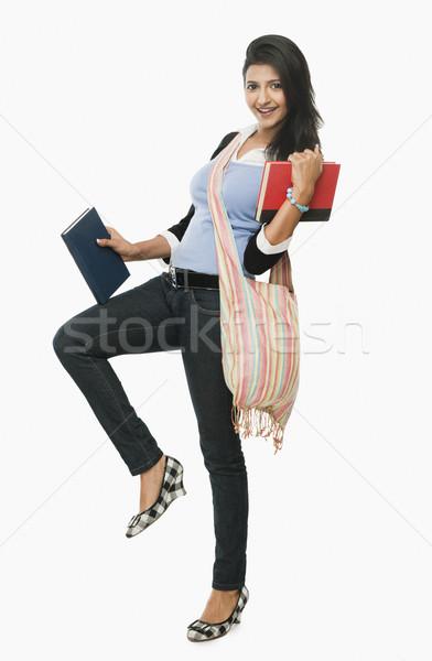 Libros sonriendo mujer educación Foto stock © imagedb