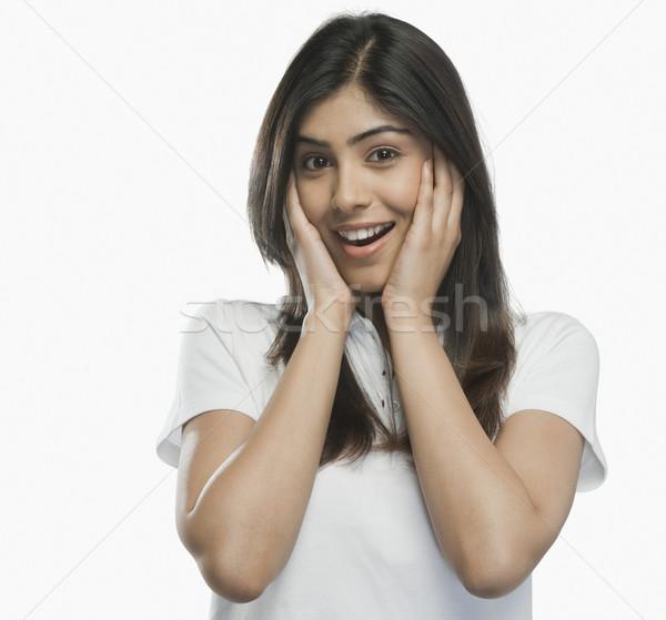 Portre kadın bakıyor şaşırmış genç şok Stok fotoğraf © imagedb