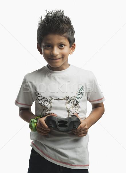 Portret jongen spelen video game kind technologie Stockfoto © imagedb