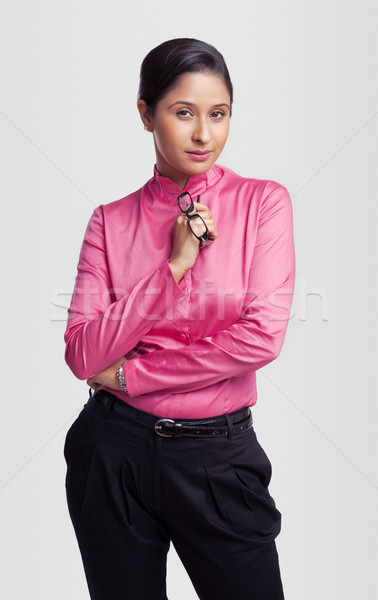 Portré üzletasszony tart szemüveg üzlet nő Stock fotó © imagedb