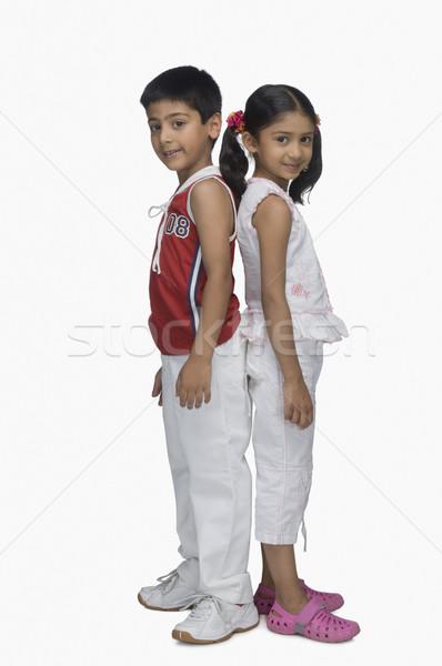 Portre iki çocuklar ayakta geri saç Stok fotoğraf © imagedb