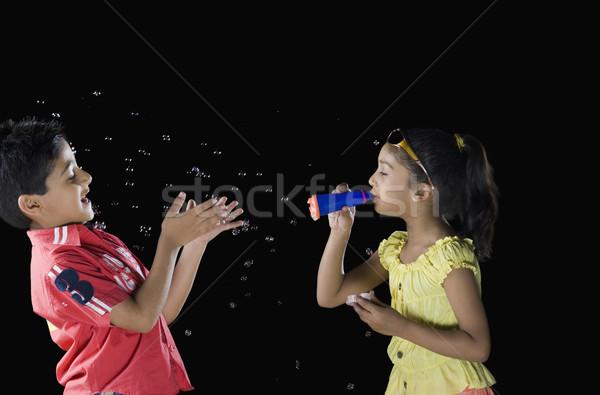 Meisje jongen glimlach kinderen gezicht Stockfoto © imagedb