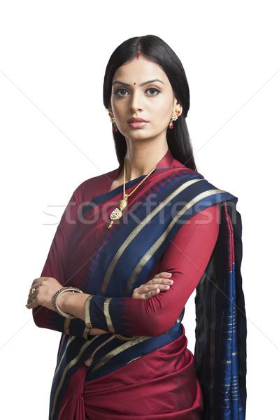 Traditionally Indian woman posing in sari Stock photo © imagedb