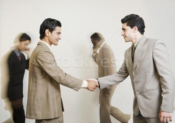 два бизнесменов рукопожатием бизнеса успех счастье Сток-фото © imagedb