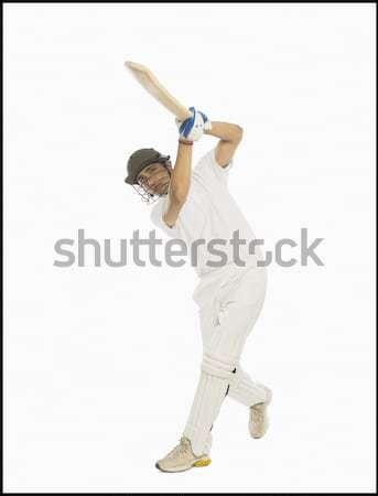 Cricket spelen rechtdoor drive man sport Stockfoto © imagedb
