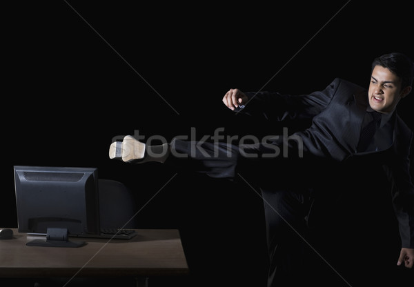 Frustrado empresário área de trabalho pc negócio Foto stock © imagedb
