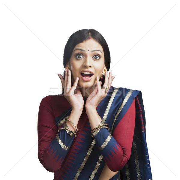 Tradicionalmente indiano mulher olhando surpreendido retrato Foto stock © imagedb