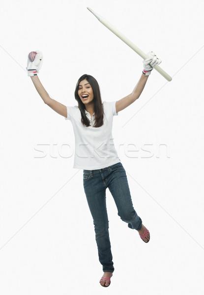 женщины крикет вентилятор женщину Сток-фото © imagedb