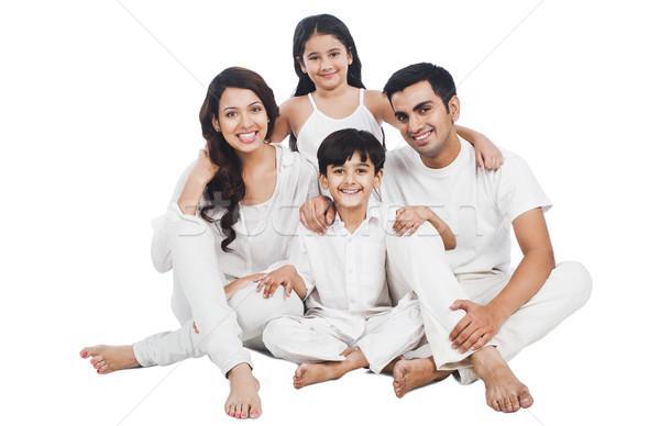Portret gelukkig gezin glimlachend familie meisjes vader Stockfoto © imagedb