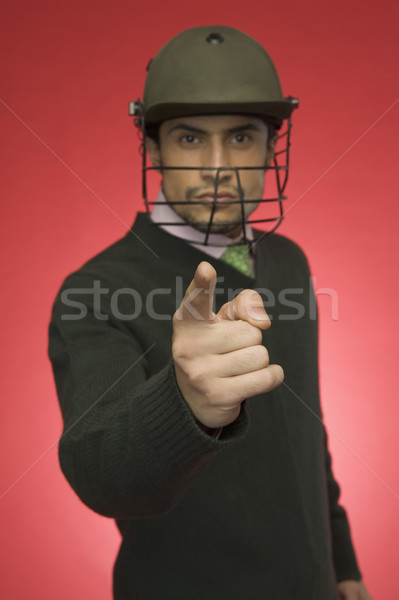 Portret zakenman cricket helm wijzend Stockfoto © imagedb