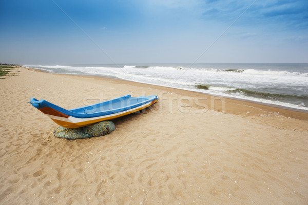 Fishing boat on the beach, Chennai, Tamil Nadu, India Stock photo © imagedb
