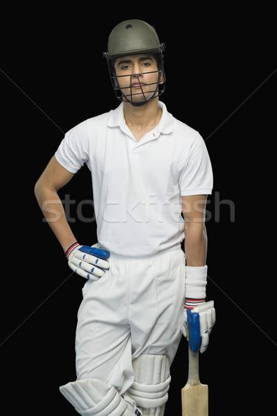 Cricket permanente man benen veiligheid bescherming Stockfoto © imagedb