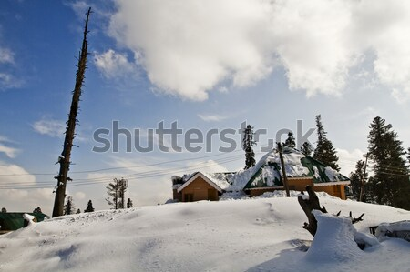 Lodges in a snow covered area, Kashmir, Jammu And Kashmir, India Stock photo © imagedb