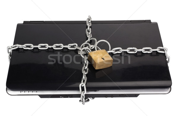 ноутбука цепь замок безопасности связи черный Сток-фото © imagedb