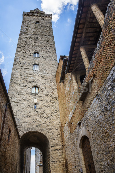 Low angle view of a tower in the medieval town of San Gimignano Stock photo © imagedb