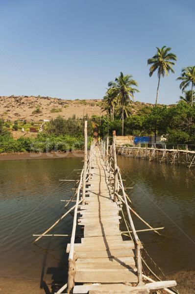 Fából készült híd folyó Goa India fa Stock fotó © imagedb
